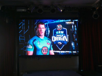 State of Origin playing on the LED screen at the Paddo